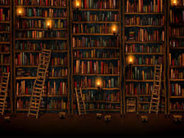 Wallpaper showing old wood bookshelves with creaky wooden ladders, lit by  candles