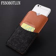 fssobotlun 3 colors for apple iphone 8 plus handmade wool felt pu leather pouch case sleeve with card pocket for iphone 7 plus