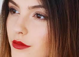 my red lip brown smokey eye makeup look