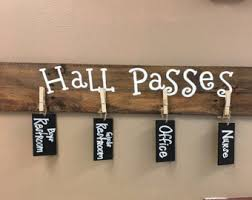 Hall Passes For School Teachers Gift Back To School Hall Pass Tags Sign