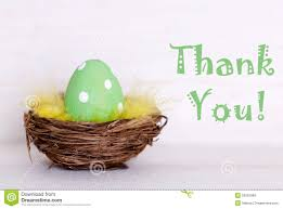 Thank You Easter One Green Easter Egg In Nest With Thank You Stock Image