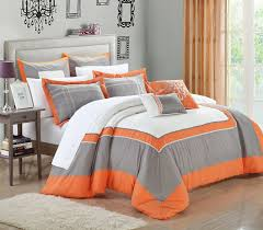 orange comforter set and green sets dark gray