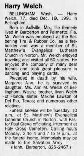 Obituary for Harry Welch (Aged 77) - Newspapers.com