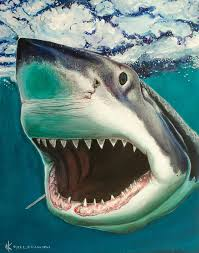 great white shark painting.  Great Blacktip Shark Painting  Great White Surf By Kyra Kalageorgi On I