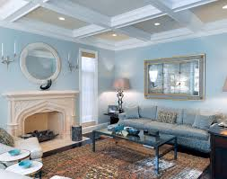 Living room - traditional formal living room idea in Chicago with blue walls,  a standard