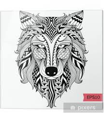 Skleněný Obraz Detail Zentangle Vlk Pro Barvení Stránku Tetování Tričko Design Efektu A Logem