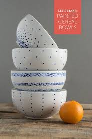so easy paint a set of breakfast bowls in 4 simple patterns cute for back to school