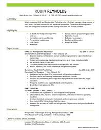 Resume For Refrigeration And Air Conditioning Technician