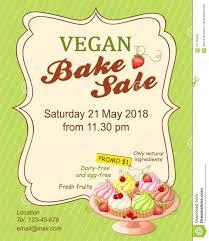 Vegan Bake Sale Recipes Green Vegan Bake Sale Promotion Flyer With Cupcakes Stock Vector