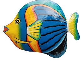 hand chiseled and painted tropical metal art wall decor fish b071lng1rp
