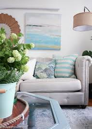 Blue And Green Living Room beachy blue & green summer living room tour the happy housie 7898 by xevi.us
