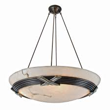 contemporary bronze x chandelier with alabaster style dome shade