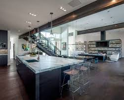 lighting for beamed ceilings. example of a trendy open concept kitchen design in salt lake city with flatpanel lighting for beamed ceilings