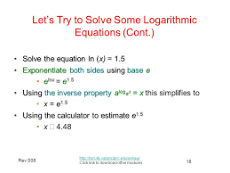 let s try to solve some logarithmic equations cont