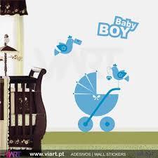 baby boy stroller and birds wall