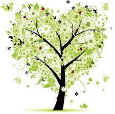 緑色の花のイラストフリー素材no163夏の樹木ハート型