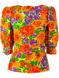 Vintage Floral Print Givenchy Vintage Floral Print Belted Top Women Vintage Archive