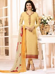 Punjabi Suit Stitching Designs Yellow Color Semi Stitched Designer Punjabi Suit Indian