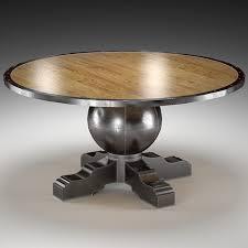 enzo industrial loft pine metal round dining table 3d model max obj mtl fbx unitypackage prefab
