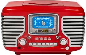 crosley cr612d re corsair retro am fm dual alarm clock radio with cd player and bluetooth red