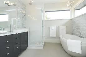 modern bathroom chandelier narrow bathroom window with freestanding bathtub and under chandelier and double sinks modern
