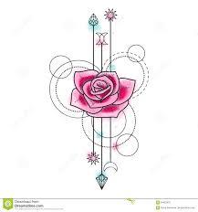 абстрактная татуировка розы акварели иллюстрация вектора