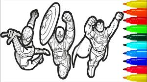 Find your favorite batman and spiderman coloring page in batman or spiderman coloring pages section. Spiderman Iron Man Superman Captain America Wolverine Batman Coloring Colouring Pages For Kids Youtube