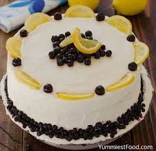 Lemon Blueberry Cake With Cream Cheese Frosting Recipe
