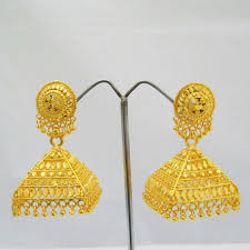 large gold plated jhumka earrings pyramid pattern rajasthani women india jewelry