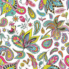 Fabric With Yoga Designs Seamless Colorful Bright Expressive Paisley And Floral Background