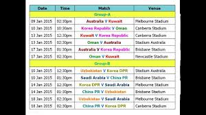 Asia Cup Chart Football Asian Cup 2015 Full Schedule Time Table And Venue