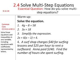 ppt 2 4 solve multi step equations