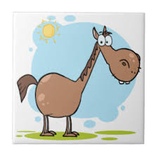 cartoon character horse ceramic tile