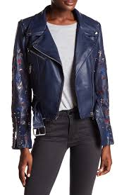 image of vigoss embroidered faux leather moto jacket