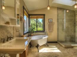 craftsman bathroom with acrylic slipper clawfoot tub
