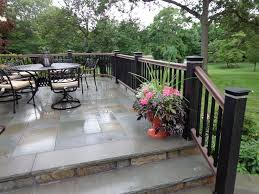 concrete patio with railings if we do