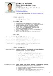 Sample Resume Of Interior Designer For Study Design Examples