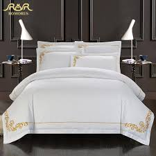 romorus 100 cotton tribute silk bedding set white embroidered hotel duvet cover set king queen size with bed sheet pillowcases mishalsworld com