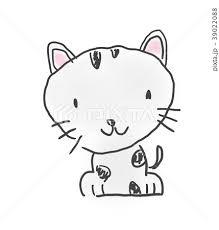 猫ちゃんかわいいゆるい動物キャラ子供の落書き風イラストのイラスト