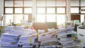 complete guide home office. Image Of Office Desk With Piles Paperwork Signifying The Need For Buying Privacy Support Ultimate Guide Complete Home O