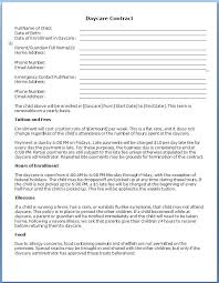 Daycare Contract Template Free Daycare Contract Template Fantastic Free Forms