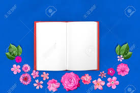 Design Paper Background Flower Beautiful Flower Design Frame With Notepad In Center On Blue