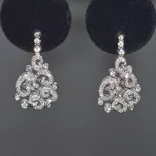 14k white gold diamond spiral chandelier earrings
