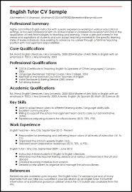 English Curriculum Vitae English Tutor Cv Sample Myperfectcv