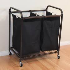 Laundry Hanging Bar Laundry Basket On Wheels With Hanging Bar Doherty House Simple