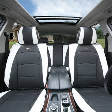 car suv truck pu leather seat cushion covers 5 seat full set seats black white with