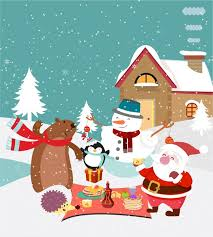 cute christmas background. Simple Christmas Christmas Background Design With Cute Animals And Santa And Cute Christmas Background A