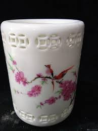 2019 collection folk art chinese famille rose porcelain hollow hand painting bird peach blossom brush pot w qianlong mark c019 from good deal258