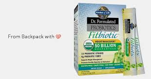 garden of life probiotic supplement dr formulated fitbiotic probiotics powder for digestive and gut health shelf stable 20 packets backpack