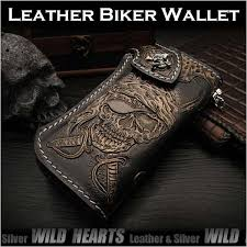custom hand pirate skull carved leather wallet biker wallet silver concho wild hearts leather silver id lw0991
